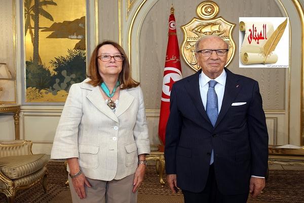 Iرئيس الجمهورية يستقبل رئيسة البعثة الأروبية في قصر قرطاج
